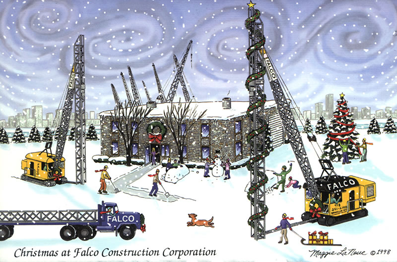 Custom corporate greeting cards by albion design falcos 1998 holiday card our first for their company in later years we would build their website a website for a daughter starting a cake business reheart